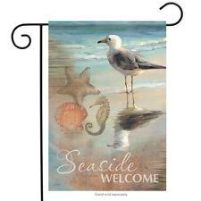 "Seaside Welcome Summer Garden Flag Shells Shore Seagull Nautical Beach 13""x18"""