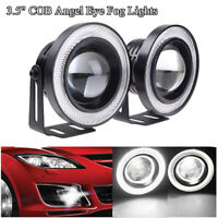 "3.5"" 3200LM Car COB LED Fog Light Projector White DRL Lamp Headlight w/Halo Ring"