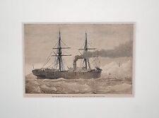 "Wood Engraving "" the Collision in Dover Bay "", Original"