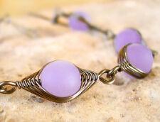 VALENTINA periwinkle blue sea glass herringbone wire wrapped bracelet LEAD FREE