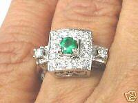 18K Gold Genuine Colombian Emerald & VS Diamond Ring