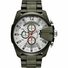 NEW Diesel Timeframes Mega Chief Silver Dial Chronograph Black DZ4478 Mens Watch