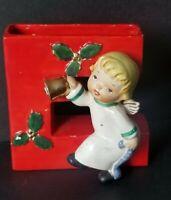VINTAGE 1956 NAPCO HAPPY YULETIDE RED ANGEL LETTER E CANDLE HOLDER