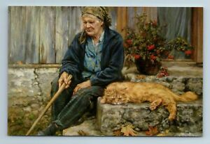 ELDERLY WOMAN with RED CAT Russian Peasant Village You and I stayed New Postcard
