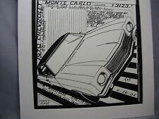 1970 Chevrolet Monte Carlo    Auto Pen Ink Hand Drawn  Poster Automotive Museum