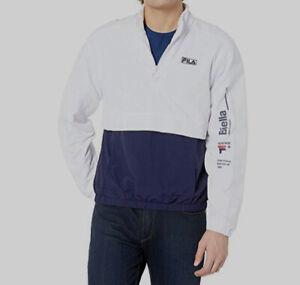 $160 Fila Men's White Blue Gus Half-Zip Pocket Track Windbreaker Jacket Size S