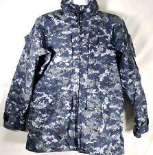 USN US Navy Working Uniform NWU Type I Blue Gore Tex Parka Jacket Small Long