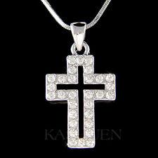 Stylish Cross~ Made with Swarovski Crystal Jesus Christ God Religious Necklace