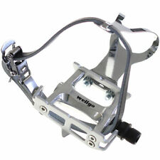 [US SELLER] Wellgo R025 Bike Pedal with Toe Clips and Leather Strap Set - Silver
