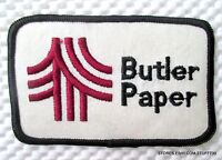 "BUTLER PAPER EMBROIDERED SEW ON PATCH LOGO UNIFORM ADVERTISING 4"" x 2 1/2"""