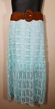 "NEW LACE MAXI CROCHET Women's 16W Plus Belt Skirt MINT Green 41"" LONG Boho Beach"