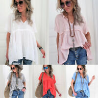 Summer Women Short Sleeve V Neck Tee Shirt Plus Swing Casual Holiday Blouse Top