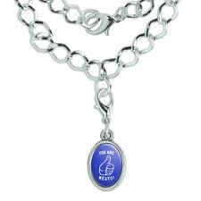 You Are Neato Cool Funny Humor Silver Plated Bracelet with Antiqued Oval Charm