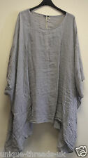Italian PLUS SIZE Quirky LAGENLOOK LINEN Mix Top OVERSIZED Layering BOHO PONCHO