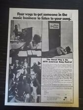 1978 VINTAGE PRINT AD for 1979 AMERICAN SONG FESTIVAL HOW TO GET DISCOVERED!