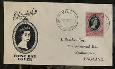 1953 Villa New Hebrides First day Coronation cover FDC Queen Elizabeth II QE2