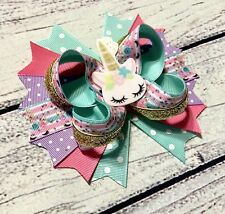5� Multicolor Handmade Unicorn Stacked Boutique Hair Bow