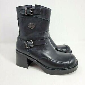 Harley Davidson Black Leather Chunky Platform Boots Size 8 Buckle Motorcycle