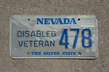 Vintage Nevada DAV DISABLED AMERICAN VETERAN License Plate # 478