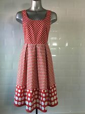 SIZE 8 RED WHITE POLKA DOT COTTON DRESS SPOTS HOLIDAY SUMMER ROCKABILLY 1950s