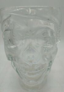 Treasure Island Casino Glass Pirate Skull 32 Oz Cup Heavy Mug Stein Luminarc USA