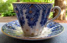 Lomonosov Tea Cup & Saucer Bridesmaid Baskets USSR Russia Cobalt Blue Gold Trim