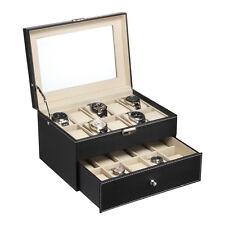 20 Slots Leather Men Watch Box Display Case Organizer Glass Top Jewelry Storage