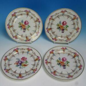 Dresden Bavaria China - Flowers - 4 Luncheon Plates - 8¼ inches
