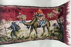 """Vintage Velour Tapestry Rug Camel & Man, Pyramids  Wall Hanging 42""""x21"""""""