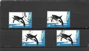AAT 1995 Whales $1 Killer Whale x 4 CTO Org Gum