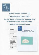 RONNIE Dix Bristol ROVER 1927-1932 RARE mano originale firmato TAGLIO / CARD