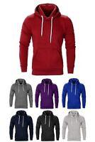New Mens Fleece Hoodie Pullover Sweatshirt Overhead Top Plain Warm Hoody Jumper