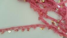 """2 yards Pink Sequins Crochet  Scalloped Lace Trim 3/4"""""""