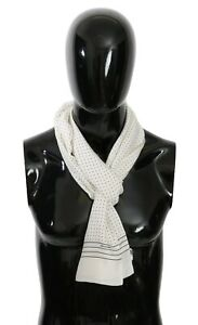 DOLCE & GABBANA Scarf Silk White Dotted Fringe Wrap Shawl 190cm x 22cm