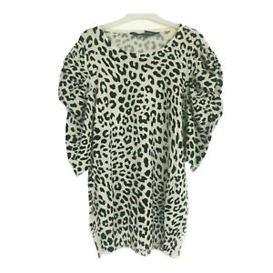 New EX SOSANDAR UK Size 14 Ladies Black White Animal Print Fine Knit Top