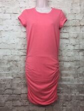 ATHLETA Womens XS Coral Short Sleeve Ruched  Causal  Sheath Dress