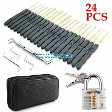 24P Locksmith Clear Practice Padlock Unlocking Lock Pick Key Extractor Tool Set