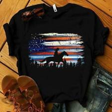 Horse America Night Ladies T Shirt 100% Cotton Black