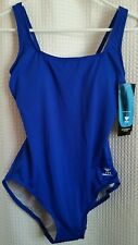 TYR Durafast Contemporary Fitness Blue Swim Suit Women's Sz 8 NWT