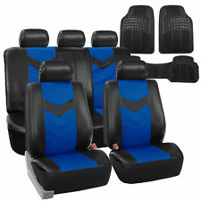 Faux Leather Car Seat Covers for Auto Blue W/ Heavy Duty Floor Mats