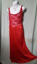 "Ventura Long Sexy Red Nylon Nightgown w/Lace Sz 5X Gift   60"" Bust  B3G1 FREE"