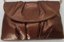 TALBOTS Women's Clutch Bag Purse Cross-Body Leather Bronze Croco-Emb Flap Chain