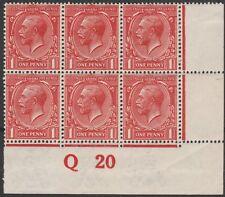 1913/18 SG357 N16(5) 1/d BRICK RED MINT CONTROL Q20 BLOCK OF 4