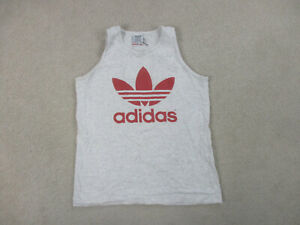 VINTAGE Adidas Shirt Adult Extra Large Gray Red Trefoil Logo Tank Top Mens 90s*