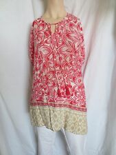 Lucy & Laurel Womens Boho Peasant Floral Blouse Top with Tassels SZ XL