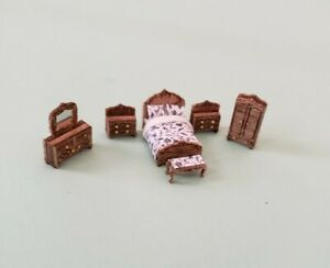 """Dollhouse Miniature 1:144 Scale ASSEMBLED"""" Victorian Style Bedroom Furniture Set"""