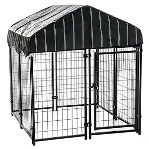 Lucky Dog 4' x 4' x 4.5' Uptown Welded Wire Dog Kennel w/ Waterproof Cover