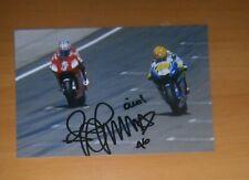 AUTOGRAFO VALENTINO ROSSI SIGNED MOTOGP VR46 GP VS CASEY STONER FOTO 46 RACING
