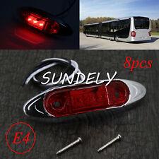 8Pcs 12/24v RED 3 LED Front Side Marker Light Indicator GM Car/Truck/Van/Trailer