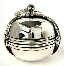 EXTRA LARGE PHOTO BALL LOCKET STERLING SILVER PENDANT